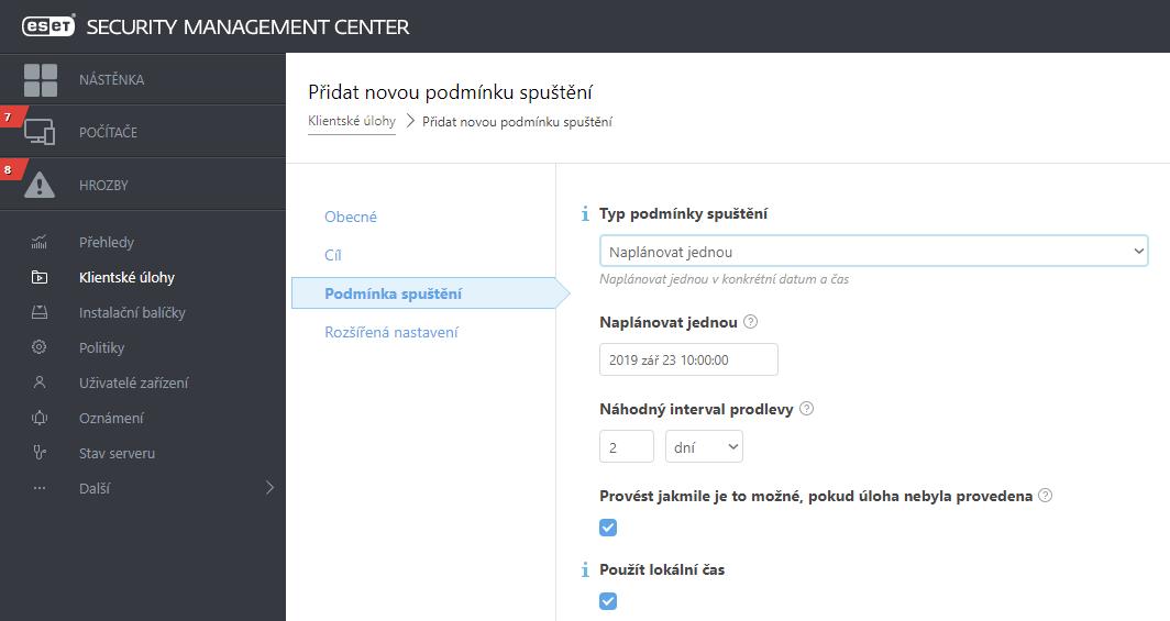 Vytvoření klientské úlohy pro aktualizaci ESMC komponent