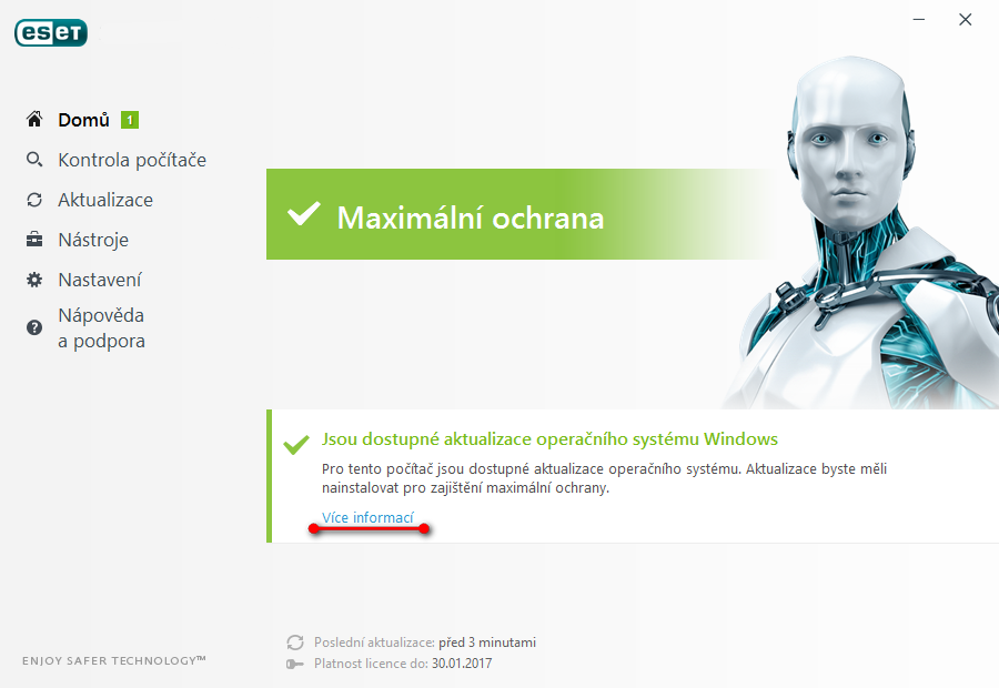 Upozornění na dostupné aktualizace Windows