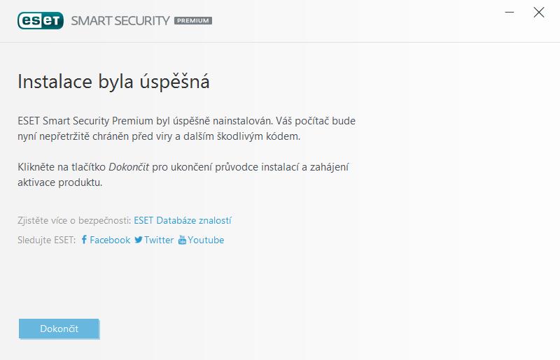 Dokončení instalace produktu ESET Smart Security Premium