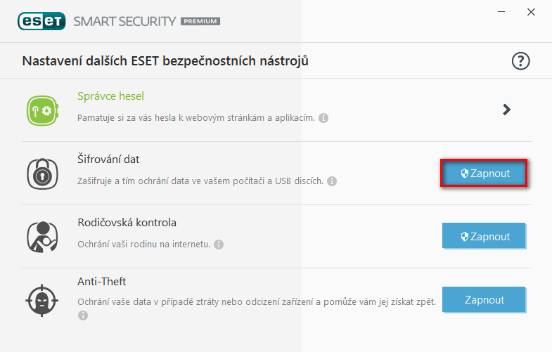 ESET Smart Security Premium: šifrování dat