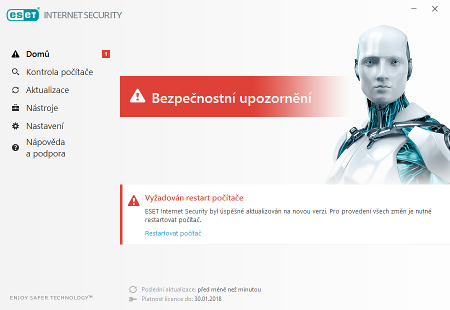 Dokončení instalace produktu ESET Internet Security