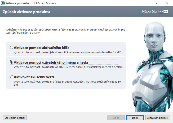 Výběr způsobu aktivace programu ESET Smart Security