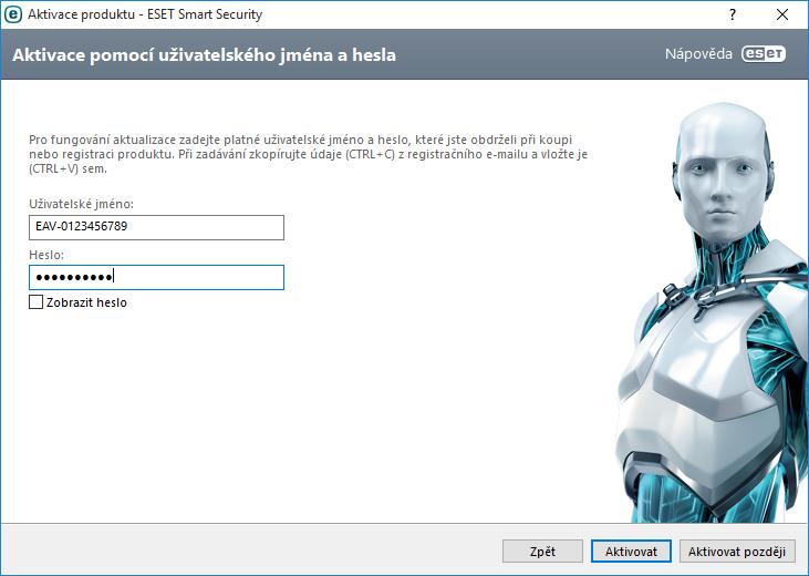 Aktivace programu ESET Smart Security pomocí uživatelského jména a hesla