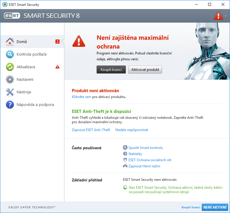 Aktivace programu ESET Smart Security