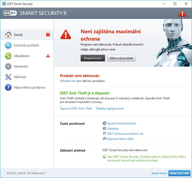 Aktivace programu ESET Smart Security