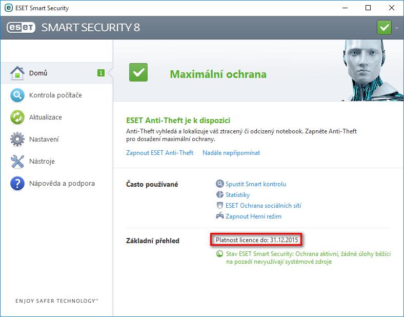 Zobrazení platnosti licence v produktu ESET Smart Security 8
