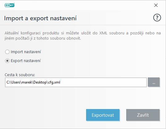 Import / export nastavení