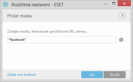 Zadání masky pro URL adresy
