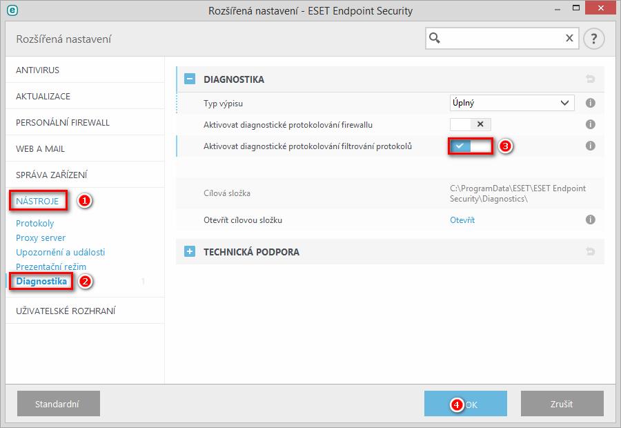 Aktivace diagnostického protokolování filtrování protokolů