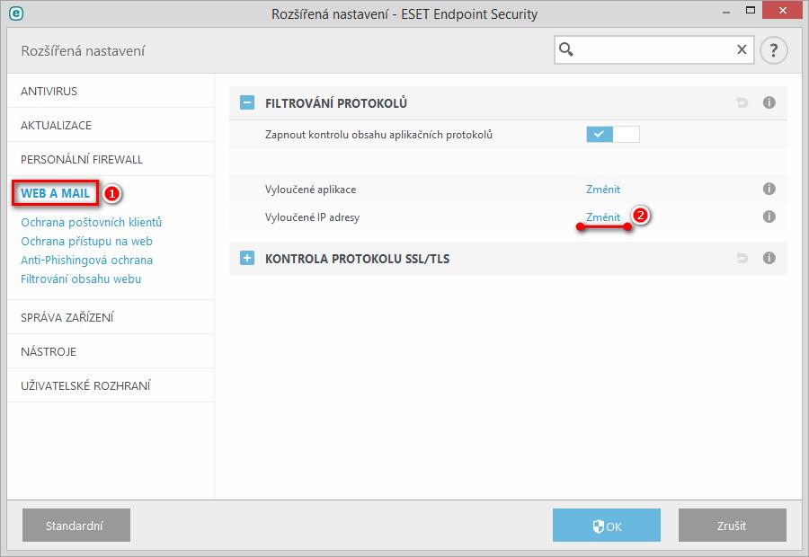 Vytvoření výjimky pro vzdálenou IP adresu ve filtrování protokolů