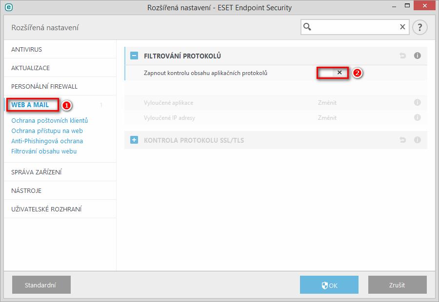 Vypnutí kontroly obsahu aplikačních protokolů