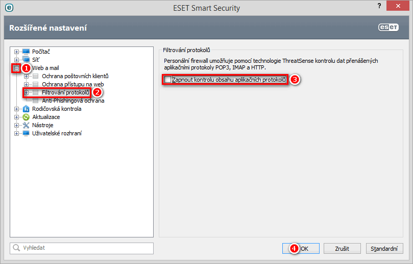 Jak vypnout filtrování protokolů