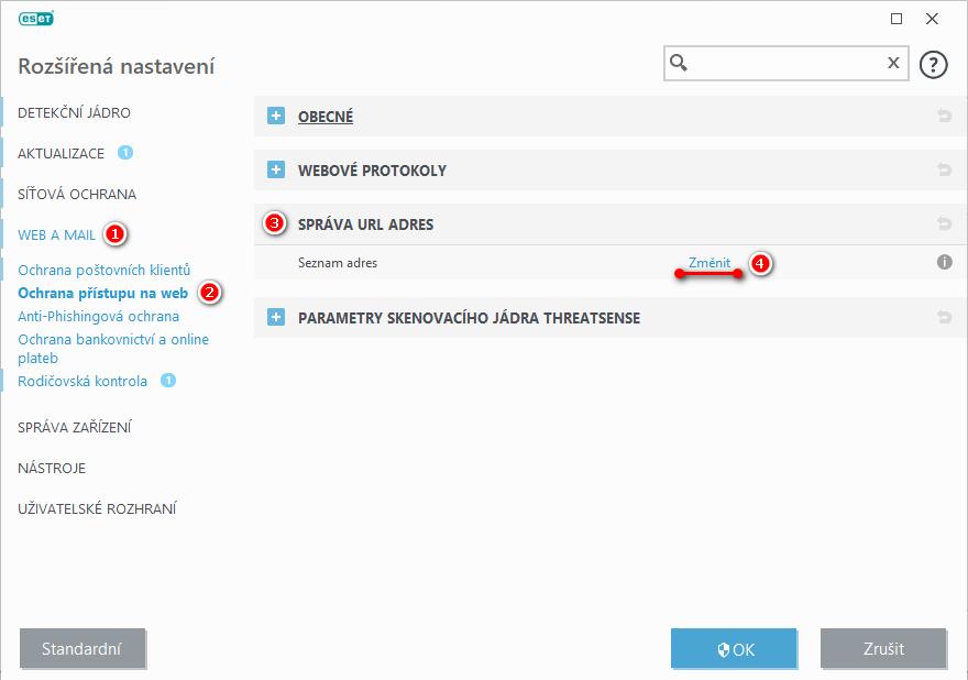 Správa URL adres