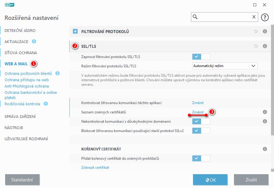 Konfigurace filtrování SSL/TLS komunikace