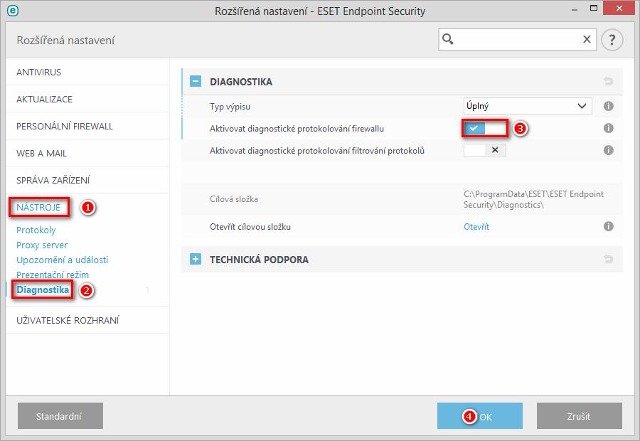 Aktivace diagnostického protokolování Personálního firewallu