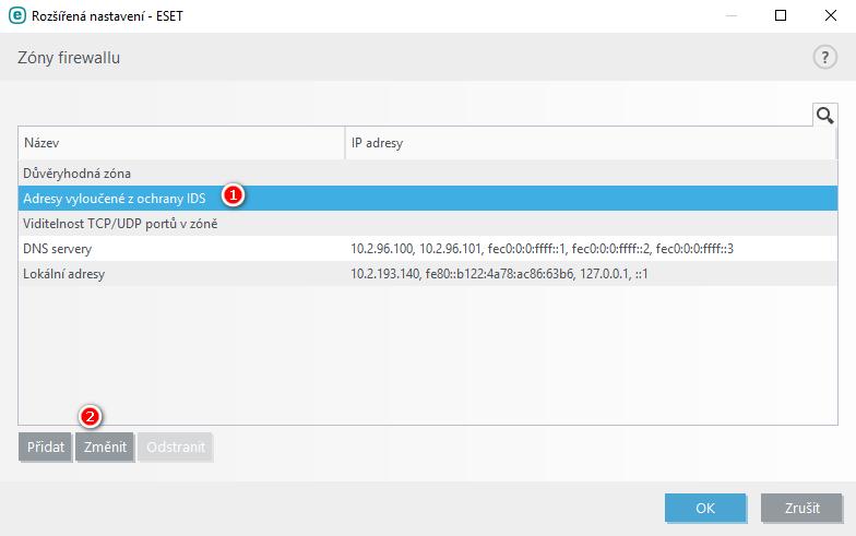 Nastavení firewallu v produktu ESET