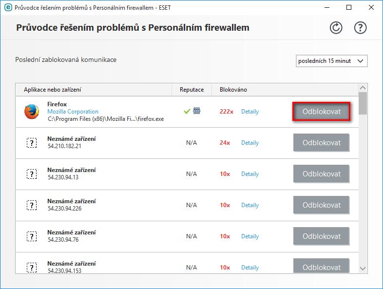 Spuštění průvodce řešením problémů s Personálním firewallem