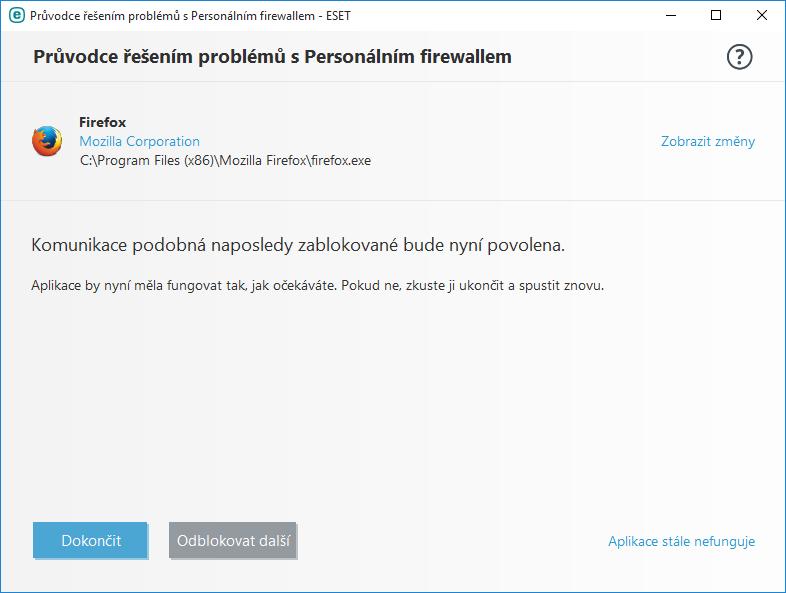 Průvodce řešením problémů s Personálním firewallem