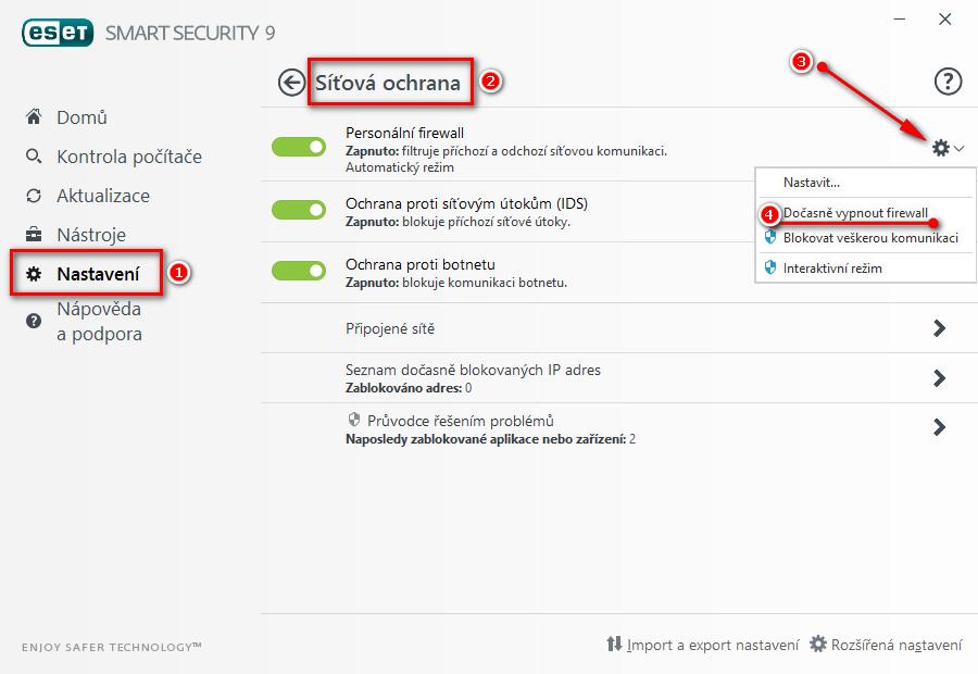 Pozastavení Personálního firewallu
