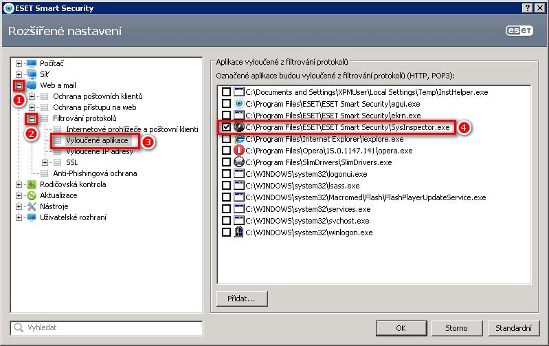 Vyloučení aplikace z filtrování protokolů