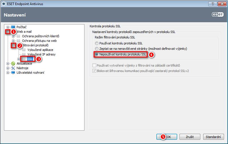 Vypnutí kontroly protokolu SSL v produktu ESET