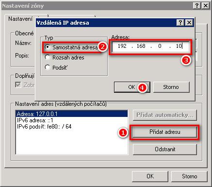 Přidání IP adresy