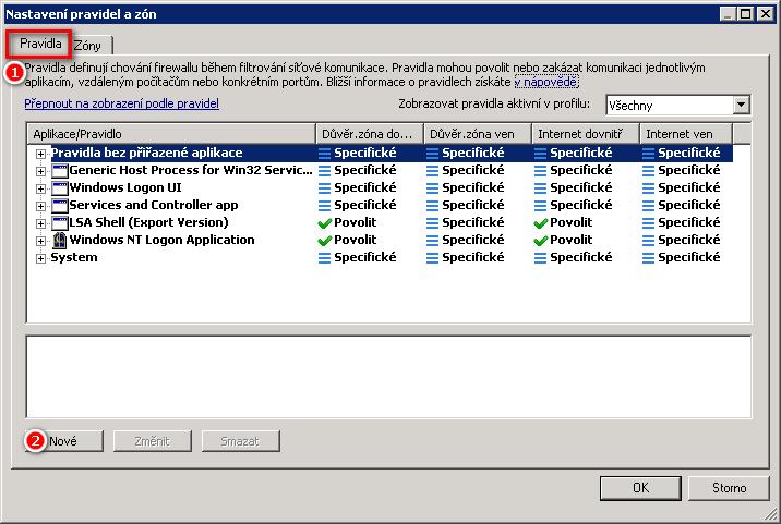 Nastavení pravidel a zón Personálního firewallu