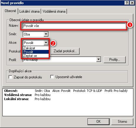 Vytvoření nového pravidla v Personálním firewallu