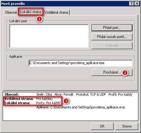 Výběr aplikace pro vytvoření výjimky v Personálním firewallu