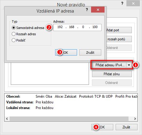 Zadání IP adresy cílového zařízení pro vytvoření výjimky v Personálním firewallu