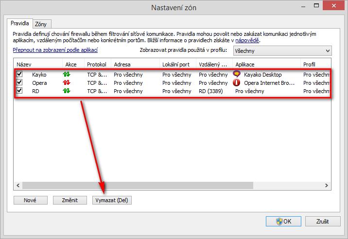 Odstranění ručně vytvořených pravidel Personálního firewallu