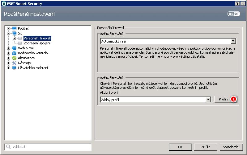 Rozšířené nastavení Personálního firewallu