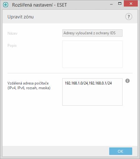 Nastavení adres vyloučených z IDS
