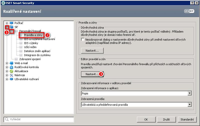 Nastavení personálního firewallu v produktu ESET