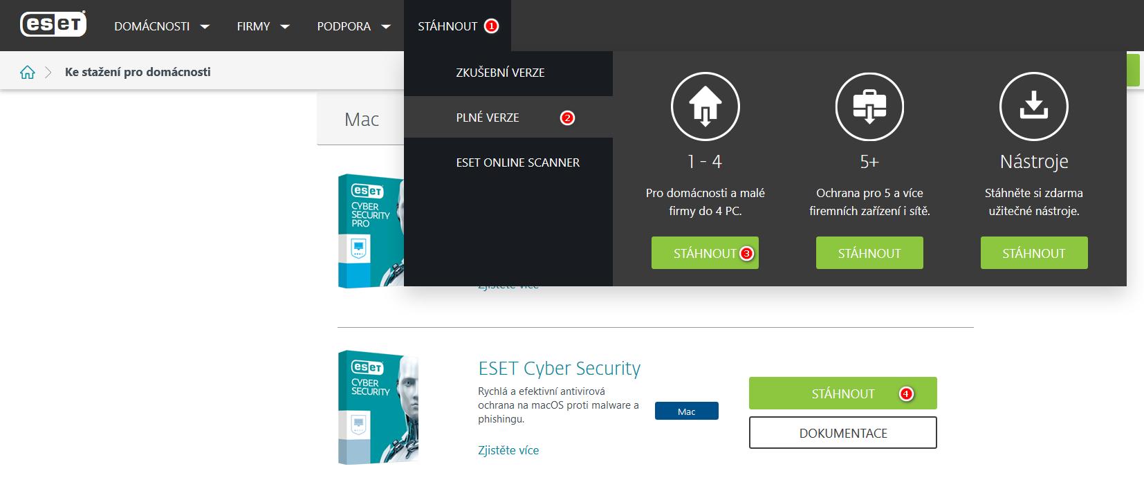Jak stáhnout produkt ESET