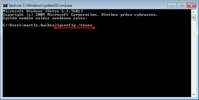 Provedení příkazu ipconfig /renew