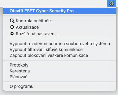 JAk otevřít hlavní okno ESET na Mac OS