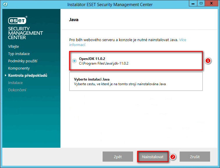 Instalace ESET Security Management Center