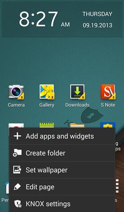 Menu aplikace Samsung Knox