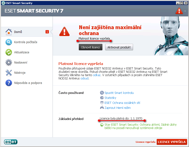 Licenční údaje ESET NOD32 Antivirus zadané v ESET Smart Security