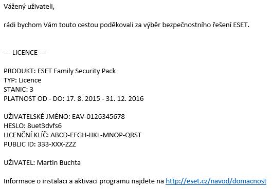 Licenční e-mail