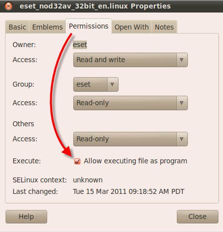 Povolení spuštění aplikace ESET NOD32 Antivirus 4 pro Linux Desktop