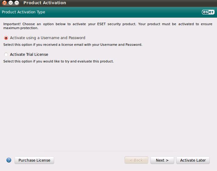 Výběr aktivace produktu ESET NOD32 Antivirus 4 pro Linux Desktop