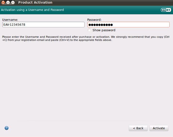 Aktivace produktu ESET NOD32 Antivirus 4 pro Linux Desktop