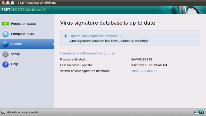 Stažení aktualizace virové databáze produktu ESET NOD32 Antivirus 4 pro Linux Desktop