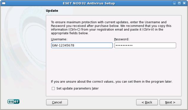 Výběr typu instalace aplikace ESET NOD32 Antivirus 4 pro Linux Desktop