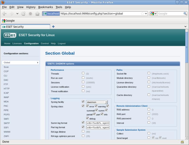 Webové rozhraní ESET Security pro Linux