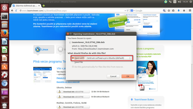 Stažení TeamVieweru pro Linux