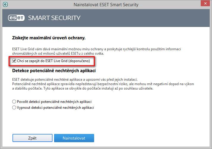ESET Live Grid v on-line instalátoru