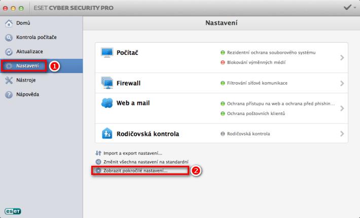 Otevření rozšířeného nastavení v ESET Cyber Security Pro